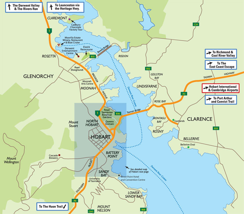 Map of hobart surrounds